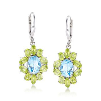 3.80 ct. t.w. Blue Topaz and 3.80 ct. t.w. Peridot Drop Earrings in Sterling Silver, , default