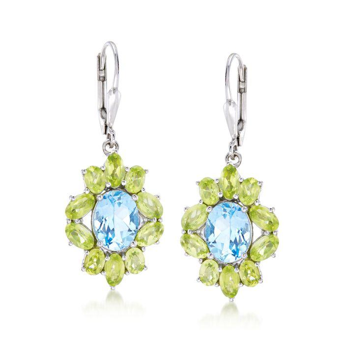 3.80 ct. t.w. Blue Topaz and 3.80 ct. t.w. Peridot Drop Earrings in Sterling Silver, , default