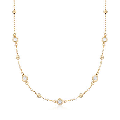 Italian 1.10 ct. t.w. Bezel-Set CZ and 18kt Gold Over Sterling Silver Bead Station Necklace, , default