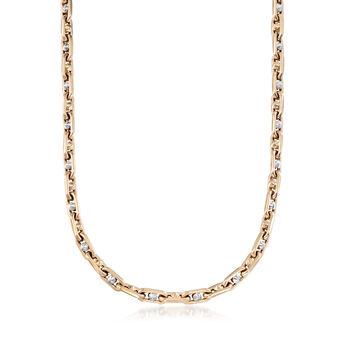 "Men's 14kt Two-Tone Gold Oval Chain Link Necklace. 21.75"", , default"