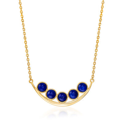Lapis Curved Bar Necklace in 18kt Gold Over Sterling