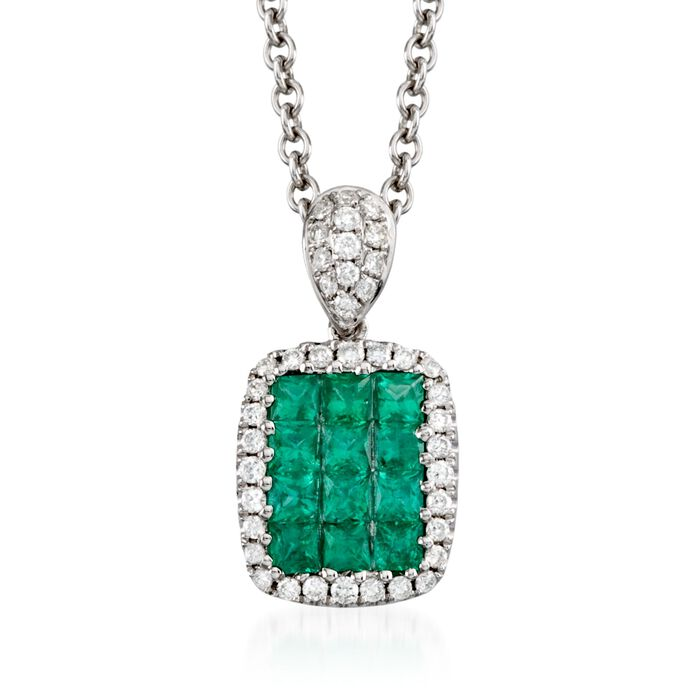 "Gregg Ruth .45 ct. t.w. Emerald and .15 ct. t.w. Diamond Necklace in 18kt White Gold. 18"", , default"