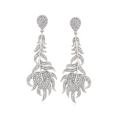 1.00 ct. t.w. Diamond Feather Drop Earrings in Sterling Silver