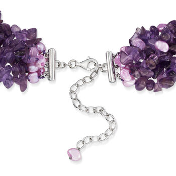 Amethyst and Purple Cultured Pearl Torsade Necklace with Sterling Silver. 18""