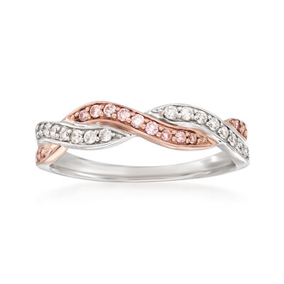 .25 ct. t.w. Pink and White Diamond Twist Ring in 14kt Two-Tone Gold, , default