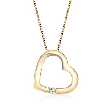 """14kt Yellow Gold Open-Space Heart Necklace With Diamond Accent. 18"""", , default"""