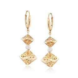 Italian 4-4.5mm Cultured Pearl Openwork Drop Earrings in 14kt Yellow Gold, , default