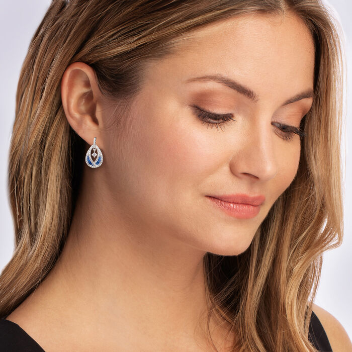 .60 ct. t.w. CZ and .30 ct. t.w. Simulated Sapphire Teardrop Earrings in Sterling Silver
