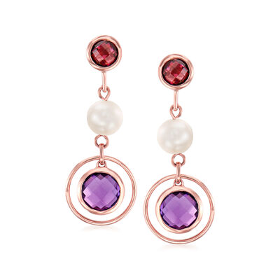 6-6.5mm Cultured Pearl and 3.60 ct. t.w. Multi-Gem Drop Earrings in 14kt Rose Gold