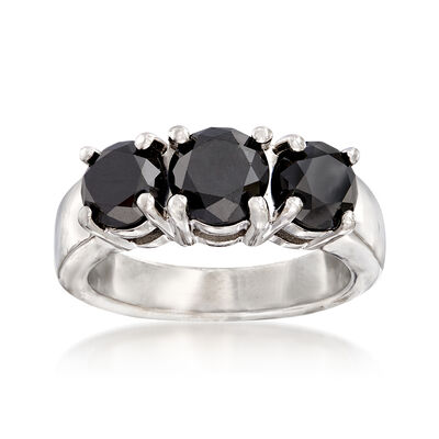 3.00 ct. t.w. Black Diamond Three-Stone Ring in Sterling Silver
