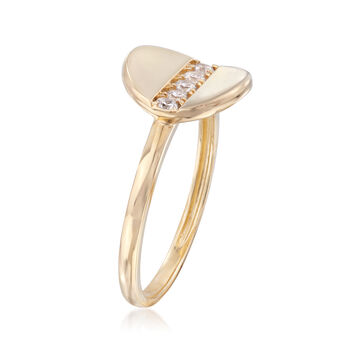 .15 ct. t.w. CZ Concave Disc Ring in 14kt Yellow Gold
