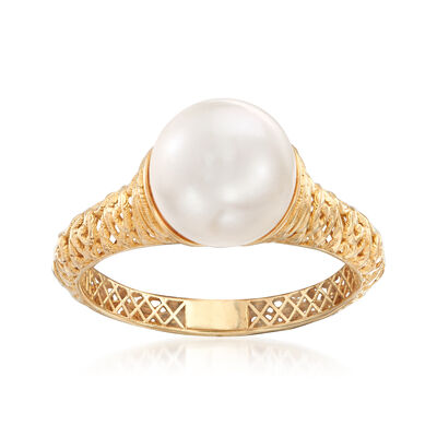9-9.5mm Cultured Pearl Filigree Ring in 14kt Yellow Gold, , default