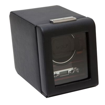"""Roadster"" Black and Ebony Macassar Single Watch Winder with Cover by Wolf Designs, , default"