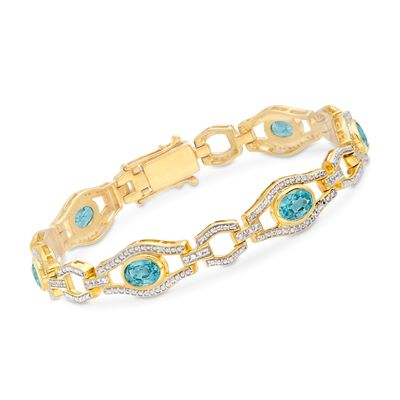 6.20 ct. t.w. Blue and White Zircon Link Bracelet in 18kt Gold Over Sterling, , default