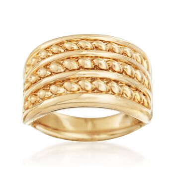 14kt Yellow Gold Roped Three-Row Ring. Size 5, , default