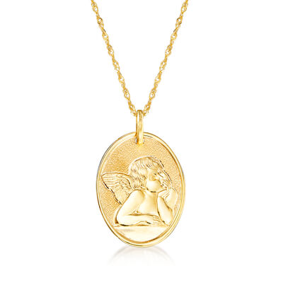 Italian 14kt Yellow Gold Raffaello's Angel Adjustable Pendant Necklace, , default