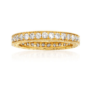 1.00 ct. t.w. Diamond Eternity Band with Beaded Edges in 14kt Yellow Gold