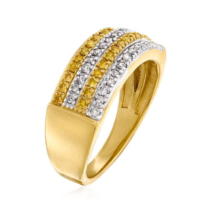 .50 ct. t.w. Yellow and White Diamond Multi-Row Ring in 18kt Gold Over Sterling