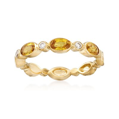 1.10 ct. t.w. Yellow Sapphire and Diamond Accent Ring in 14kt Yellow Gold, , default