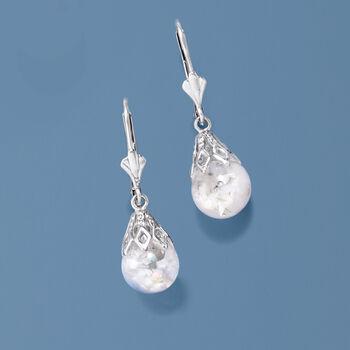 Floating Opal Drop Earrings in 14kt White Gold