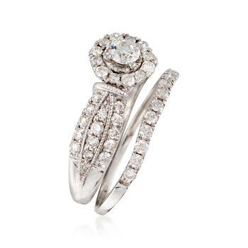 1.00 ct. t.w. Diamond Milgrain Bridal Set: Engagement and Weddings Rings in 14kt White Gold, , default