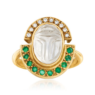 C. 1980 Vintage Rock Crystal, .40 ct. t.w. Emerald and .15 ct. t.w. Diamond Ring in 18kt Yellow Gold, , default