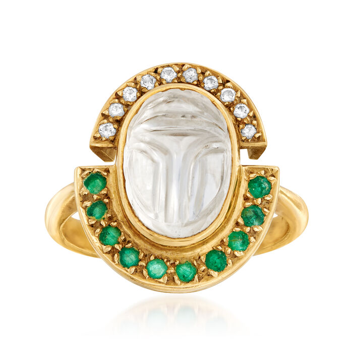 C. 1980 Vintage Rock Crystal, .40 ct. t.w. Emerald and .15 ct. t.w. Diamond Ring in 18kt Yellow Gold. Size 8