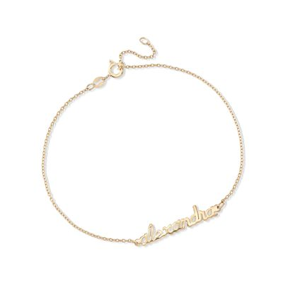 14kt Gold Over Sterling Silver Script Name Anklet, , default