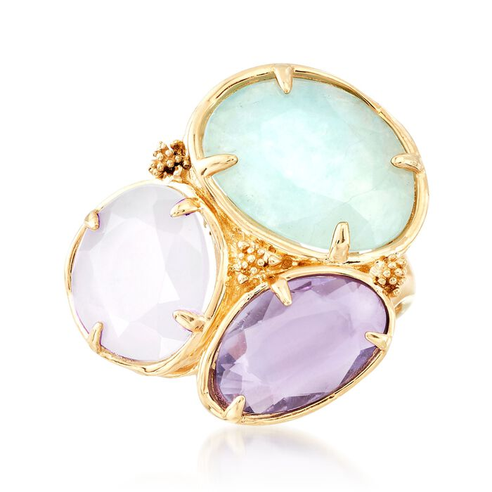 Italian 5.10 ct. t.w. Multi-Stone and Chalcedony Ring in 18kt Yellow Gold, , default