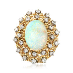 C. 1970 Vintage Opal and 1.20 ct. t.w. Diamond Ring in 14kt Yellow Gold, , default