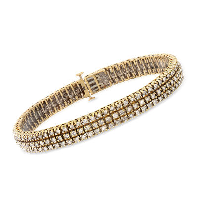 C. 1980 Vintage 5.40 ct. t.w. Diamond Bracelet in 10kt Yellow Gold, , default
