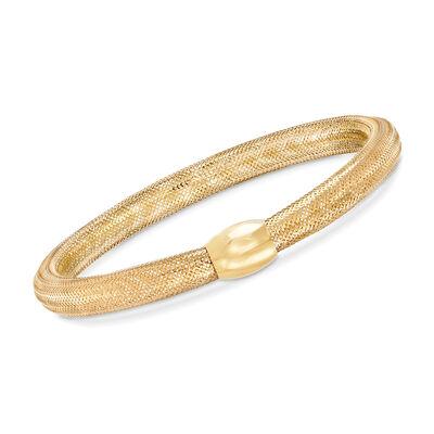 Italian 18kt Yellow Gold Mesh Tube and Bead Center Bangle Bracelet, , default