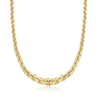 Italian 14kt Yellow Gold Graduated Rolo-Link  Necklace