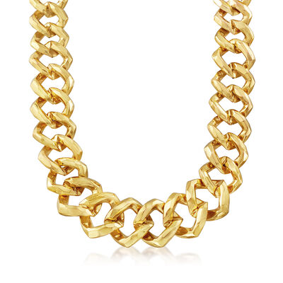 Italian 14kt Yellow Gold Graduated Square Hammered-Link Necklace, , default