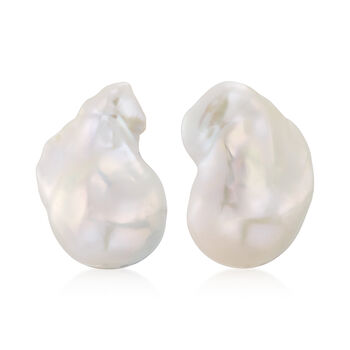 """22x18mm Cultured Baroque Pearl Earrings in 14kt Yellow Gold. 1/2"""", , default"""