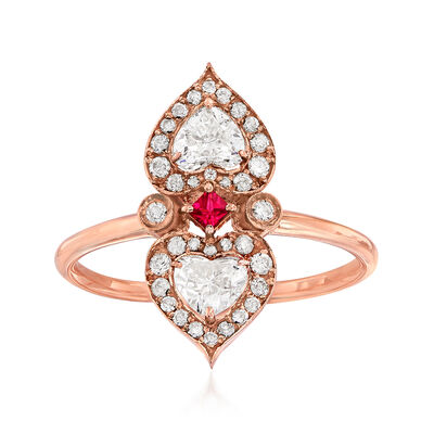 C. 1950 Vintage .65 ct. t.w. Diamond Double Heart Ring in 18kt Rose Gold with Ruby Accent, , default