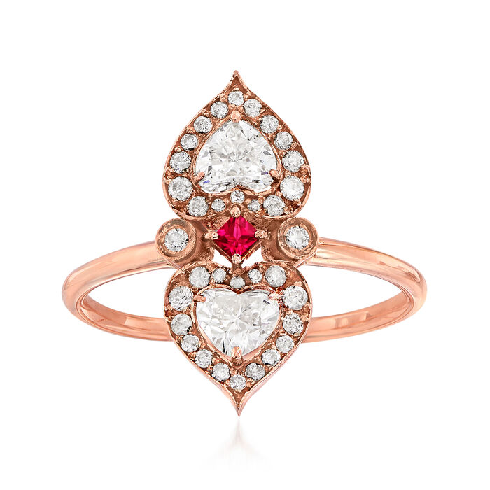 C. 1950 Vintage .65 ct. t.w. Diamond Double Heart Ring in 18kt Rose Gold with Ruby Accent. Size 6