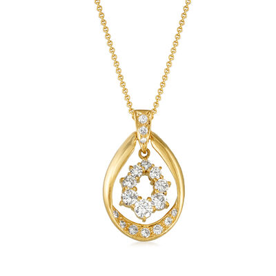 C. 1990 Vintage 1.55 ct. t.w. Diamond Drop Pendant Necklace in 18kt Yellow Gold, , default