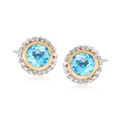 "Phillip Gavriel ""Popcorn"" .98 ct. t.w. Blue Topaz Stud Earrings in Sterling Silver and 18kt Yellow Gold , , default"