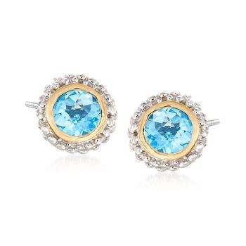 "Phillip Gavriel ""Popcorn"" .98 ct. t.w. Blue Topaz Stud Earrings in Sterling Silver and 18kt Yellow Gold , , default"