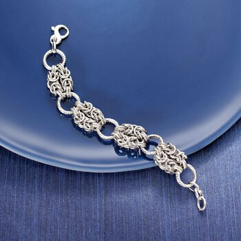Italian Sterling Silver Byzantine and Textured Circle Bracelet, , default