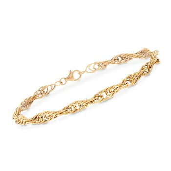 18kt Yellow Gold Rope Link Bracelet, , default