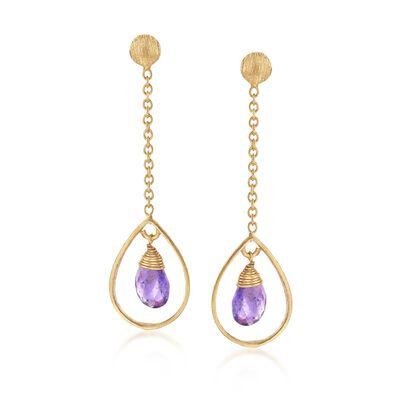 4.00 ct. t.w. Amethyst Teardrop Earrings in 18kt Gold Over Sterling, , default