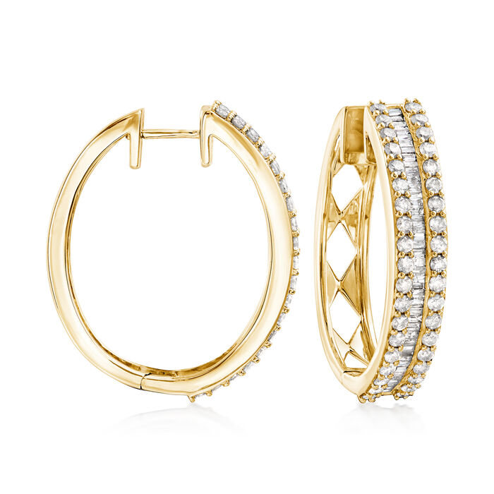 3.00 ct. t.w. Baguette and Round Diamond Hoop Earrings in 18kt Gold Over Sterling. 1 1/8""