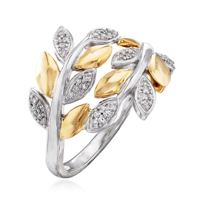 .13 ct. t.w. Diamond Bypass Leaf Ring in Sterling Silver and 14kt Yellow Gold