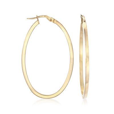 Roberto Coin 18kt Yellow Gold Oval Hoop Earrings, , default