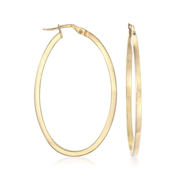 "Roberto Coin 18kt Yellow Gold Oval Hoop Earrings. 1 3/4"", , default"