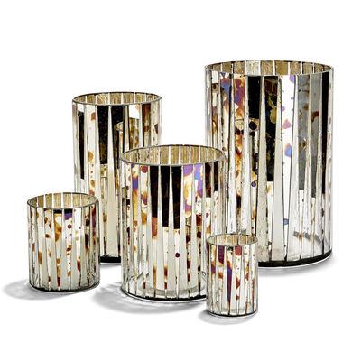 Set of 5 Antiqued Mirror Glass Mosaic Vases