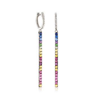 """1.25 ct. t.w. Multi-Gemstone and .10 ct. t.w. Diamond Linear Drop Hoop Earrings. 2"""", , default"""