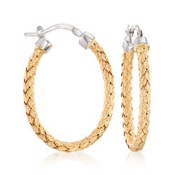 "Charles Garnier ""Milan"" Two-Tone Sterling Silver Oval Hoop Earrings, , default"